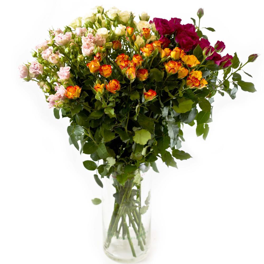 15 кустовых роз разных цветов (микс) 40 см производство Кения